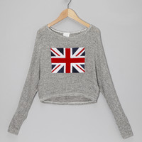 Gray Union Jack Cropped Sweater | something special every day