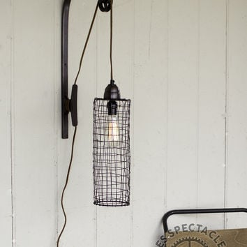 Wire Cylinder Pulley Wall Lamp