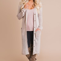 Message In A Bottle Cardigan (Taupe/White)