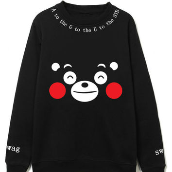 BTS KPOP 2017 new Korean version Spring Autumn men women black Cotton Round neck Kumamoto Bear printing Sweatshirt coat Lovers