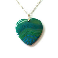 Blue Green Onyx Agate Heart Necklace Gemstone Heart Pendant Agate Heart Gemstone Pendant Girlfriend Necklace Reiki Necklace Statement piece