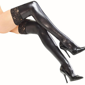 New Fashion Women Stockings Patent Leather Black Lace Ladies Sexy Thigh High Stockings Lingerie Night Clubwear Medias SM6