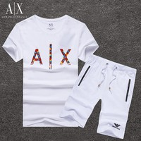 Armani Exchange Shirt Top Tee Shorts Set Two-Piece