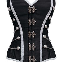 Black Military Inspired Steel Boned Corset