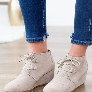 TOMS Kala Wedge Bootie - Taupe