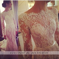 Vintage Long Sleeve Mermaid Wedding Dresses Scoop Appliques Lace Bride Gown 2015