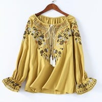 2018 Autumn Women Fashion Cotton Shirt Casual Summer Floral Embroidery Lace-up O-neck Blouse Shirt Ladies Casual Boho Tops