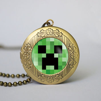 Minecraft inspired locket necklace Minecraft inspired vintage pendant locket necklace gift