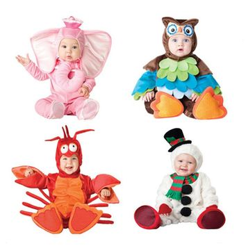Kids Clothes Fleece Romper Set Baby Boys Girls Jumpsuits Overalls Winter 2019 Animal Cosplay Shapes Halloween Christmas Costume