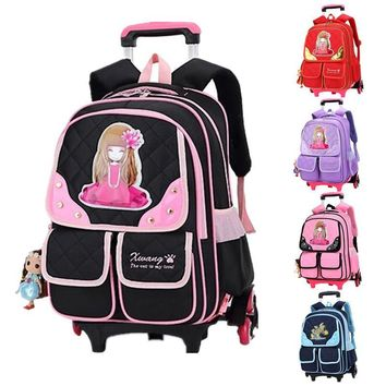 Girls Trolley School Bags Cartoon Transformer Boys Trolley School Bag Children Transformer Rolling Backpack for Kids Schoolbags