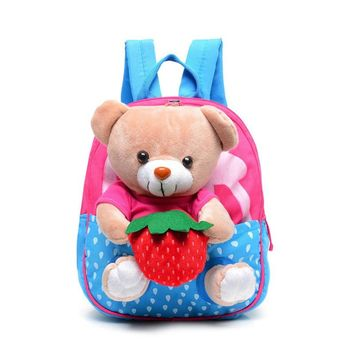 Kids School Bags Cartoon Bear Dolls Applique Canvas Backpack Mini Baby Toddler Book Bag Kindergarten Rucksacks Mochila Infantil