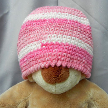 Cotton Crochet Cloche Hat Kids Hat Pink and White by CroweShea