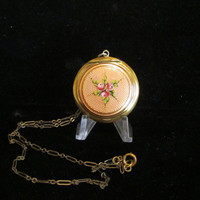 Vintage Compact Necklace Guilloche Compact Powder Compact Locket Chatelaine Antique Necklace 1910's Compact Germany