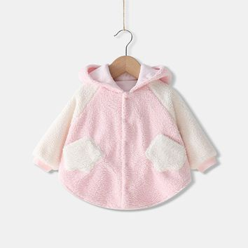 2018 Baby Girls Winter Cloak Coat Infants Princess Cotton Hooded Outerwear Toddler Ponchos Kid Topwear Cape Warm Manteau Mantle