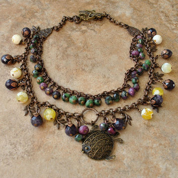 Rainforest of the Sea Necklace - An Unique Scrolled Puffer Fish Swims amongst Layers of Amethyst, Yellow Agate, and Zoisite