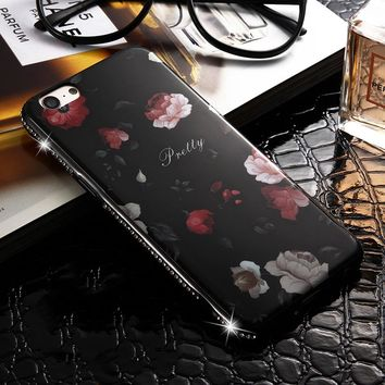 For Apple iphone 6S Case Rhinestone Bling Chic Flower Phone Back Cover Case For iphone 6 iphone6 Luxury Diamond