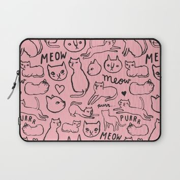 Meow Cats Laptop Sleeve by Nataly Kim