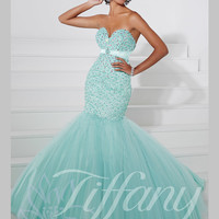 Sweetheart Beaded Top Mermaid Prom Dress Tiffany Designs 16086