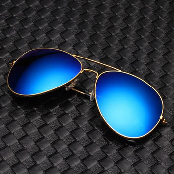 Unisex Classic Aviator Glasses Mirror Sunglasses + gift box