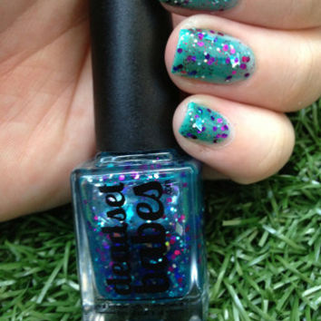 "Nail Polish ""Pool Party"" Aqua Jelly with Purple, Pink & Silver glitter Full Size 12ml"