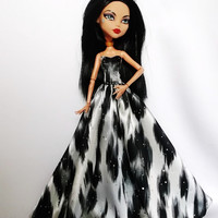 Handmade Monster High Dress Gown Grey Black