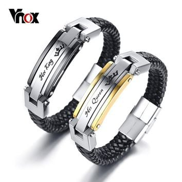 Vnox His Queen Her King Couple Bracelet Unique Love Jewelry for Women Men Genuine Leather Lover Best Gift for Valentine's Day