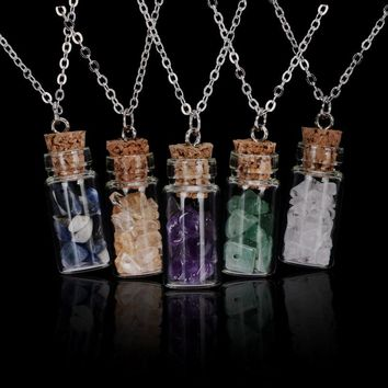 Wish Bottle Natural Stone Chips Filled Glass Pendant Necklace Silver Chain Open Wooden Plug  Crystal Necklace