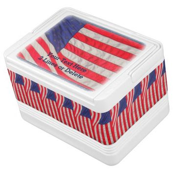 Personalized Patriotic Igloo Cooler American Flags