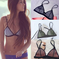 2016 Women Bikini Top Summer Style Slim Bikini Bra Swim Suit Push Up Takini Mesh Bandage Bra Plus Size swimming bra for women