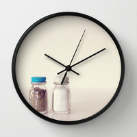 Salt and Pepper Wall Clock by Dena Brender Photography