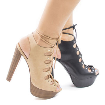 Betsey45 Corset Lace Up Sling Back Platform High Stacked Chunky Heels