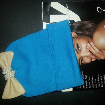 Womens Turquoise  Beenie W/ handmade leather bow.