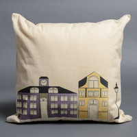Decorative purple & yellow pillow, cotton pillow, canvas fabric pillow