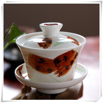 Authentic Chinese Bone China Cup and Saucer, In-glaze Decoration Chinese Gaiwan, China Craft