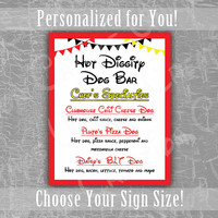 Hot Diggity Dog Bar Menu, Mickey Mouse Clubhouse, Disney, Birthday Party, Ears, Red, Yellow, Black, Theme, Printable, Custom Sign, Download
