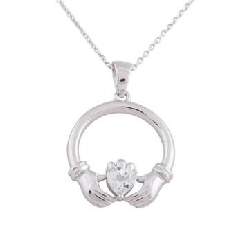 Sterling Silver Round Claddagh CZ Pendant Necklace