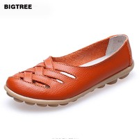 BIGTREE  10colors! Women Genuine Leather Mother Shoes Moccasins Women's Soft Leisure Flats Female Driving Shoe Flat 23