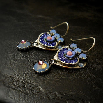 Blue Blossoms ~ Micro-Mosaic & Sterling Silver Earrings by MiaMontgomery