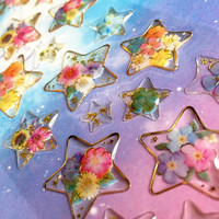 beautiful flower star sticker star shape Facny flower Epoxy sticker ooak resin jewellry charms necklace jewelry Pressed Flowers gift