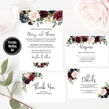 Floral Wedding Invitation Set, Burgundy and Navy Floral Invitation, Free Inserts, Thank You Card, Watercolor Floral Party Invitation