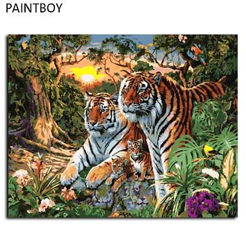 Europe Home Decoration Tiger Family DIY Canvas Oil Painting Framed Pictures Painting By Numbers Wall Art GX7861 40*50cm