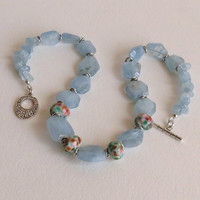 Chunky Aquamarine Necklace with Lampwork Beads and Sterling Silver, Statteam