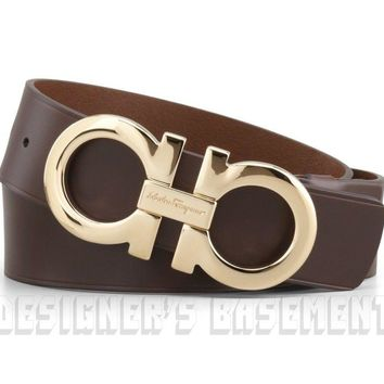 SALVATORE FERRAGAMO brown leather 42 gold Double GANCINI buckle Belt NWT Authent