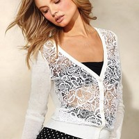 Linen Lace-front Cardi Sweater