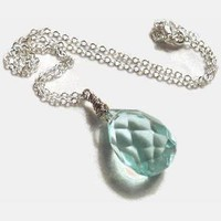 Large aqua briolette necklace by AppleyEverAfter on Etsy
