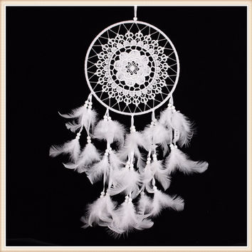 White Handmade Dream Catcher with lace net and Feathers Home Garden Living Room Ornament Wall Hanging Decoration free shipping