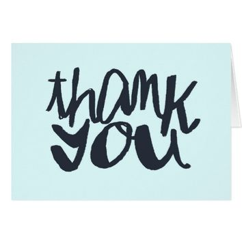 Modern Blue Two-toned Thank You Typography Card