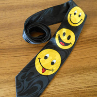 Steven Harris Tie, Smiley Face Necktie, Emoji Tie, Handmade Tie, Have a Nice Day Tie, Father's Day Gift