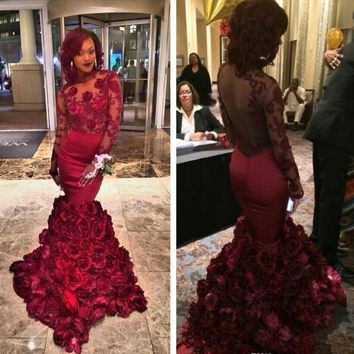Burgundy Mermaid Prom Dress 2017 New Long Sleeve Backless Rose Floral Ruffles Formal Evening Dress G