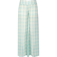River Island Womens Light green sheer checked palazzo pants